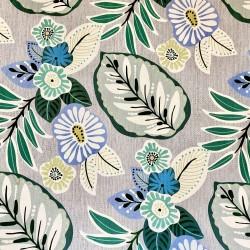 Mantel de tela antimanchas flores celeste